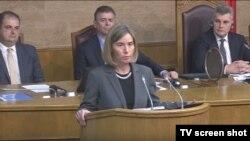 Visoka predstavnica EU Federika Mogerini govori u Skupštini Crne Gore (rtcg.me)