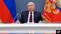 Ruski predsjednik Vladimir Putin za vrijeme online samita svjetskih lidera o klimatskim promjenama, 22. aprila 2021.