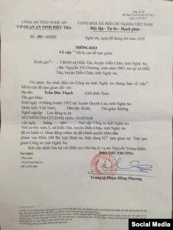 Thông báo của công an gửi cho gia đình về việc bắt ông Trần Đức Thạch. Photo Facebook Nguyen Van Dai