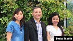 Ông Nguyễn Văn Đài, bà Vũ Minh Khánh (bên trái) và bà Lê Thu Hà, ngày 8/6/2018 tại Đức. Ảnh Facebook Vũ Minh Khánh.