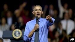 Tổng thống Barack Obama phát biểu trong cuộc gặp các thủ lĩnh trẻ của khu vực Mỹ Latinh và Caribê ở Lima, Peru, ngày 19 tháng 11 năm 2016.