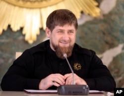 FILE - Chechen regional leader Ramzan Kadyrov speaks to journalists in Chechnya's provincial capital Grozny, Russia, Dec. 28, 2015.