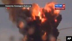 Đoạn phim phát trên kênh truyền hình nhà nước Rossiya-24 cho thấy rocket đã bay chệch hướng và nổ tung trên không.