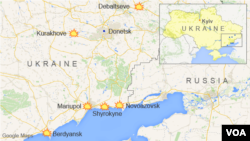 Map of Ukraine showing Debaltseve, Donetsk, Kurakhove, Mariupol, Novoazovsk, Shyrokyne, and Berdyansk