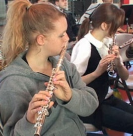 The student orchestra started one year ago with 12 aspiring musicians.