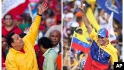 Los dos principales candidatos a la presidencia de Venezuela, Hugo Chávez, que busca la reelección, y Henrique Capriles, saludan a sus