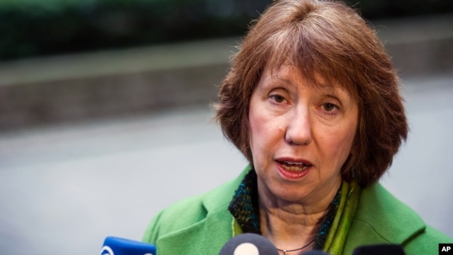 EU High Representative for Foreign Policy Catherine Ashton addressing media prior to foreign ministers meeting, Brussels, Belgium, March 11, 2013.