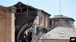 意大利西北部艾米利亞-羅馬涅地區星期一發生地震後的毀壞情況