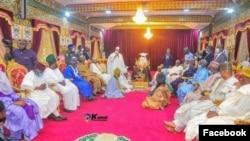 Lokacin da tawagar shugaban kasa ta je Kano nemawa Yusuf Buhari auren Zahra a fadar Sarkin Kano a watan Yuni (Facebook/Bichi)