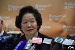 前政務司司長、香港 2020 召集人陳方安生表示,希望「候補人方案」能夠選出具有民意認受性的特首。(美國之音湯惠芸攝 )