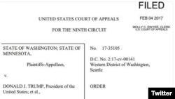 La Fiscalía de Washington escribió en su cuenta de Twitter la decisión judicial contra el recurso presentado por Trump.