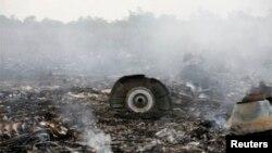 На месте падения малазийского авиалайнера рейса MH-17 у села Грабово Донейкой области Украины. 17 июля 2014 г.