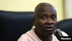 Dr. Jide Idris, komisaris kesehatan Lagos, dalam sebuah konferensi pers mengenai kematian seorang laki-laki akibat Ebola di Lagos 25 Juli 2014.