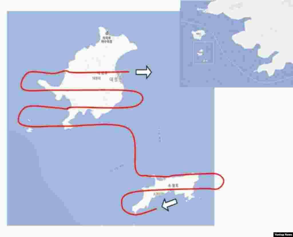 백령도에서 추락한 북한 발진 추정 무인기의 비행경로.