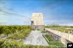 This conceptual drawing released May 3, 2017, by the Obama Foundation shows plans for the proposed Obama Presidential Center that will be located in Jackson Park on Chicago's south side.