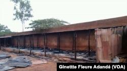 Le musée d'Histoire d'Abomey, après un incendie, au Bénin, le 29 août 2017. (VOA/Ginettte Fleure Adandé)