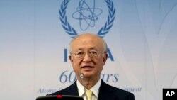 국제원자력기구 IAEA의 아마노 유키야 사무총장이 23일 오스트리아 빈에서 이사회 회의를 마친 후 기자회견을 하고 있다.