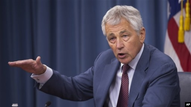 Defense Secretary Chuck Hagel speaks during a news conference at the Pentagon, in Arlington, Virginia, July 31, 2013.