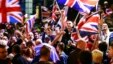 Pro-union protestors chant and wave Union Flags during a demonstration at George Square in Glasgow, Scotland, Sept. 19, 2014.