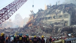 Remains of World Trade Center (WTC) 3 after collapse of WTC 1 and WTC 2, Sept. 11, 2001 (photo courtesy of FEMA)