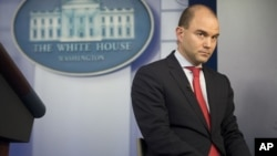 Ben Rhodes, U.S. deputy national security adviser, talks in the White House press briefing room about the vulnerability of some executive office computer systems to hackers, April 7, 2015.