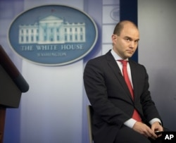 FILE - Ben Rhodes, U.S. deputy national security adviserbeing interviewed by CNN, talks in the White House press briefing room about the vulnerabilty of some executive office computer systems to hackers, April 7, 2015.