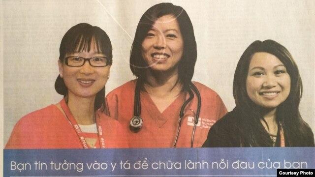 Vận động cho ứng viên tổng thống Bernie Sanders trên báo tiếng Việt ở Quận Cam (ảnh Bùi Văn Phú)