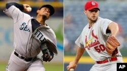 Félix Hernández de los Marineros y Adam Wainwright de los Cardenales se enfrentan en un duelo por la supremacía del béisbol.
