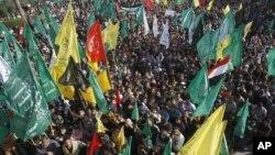 Dân Palestine ở Gaza City ăn mừng cuộc ngưng bắn giữa Israel và Hamas, 22/11/12