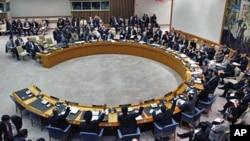미국 뉴욕 유엔 본부에서 열린 안전보장이사회 회의. (자료사진)