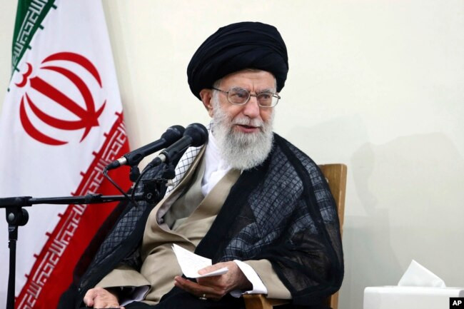 FILE - In this picture released by an official website of the office of the Iranian supreme leader, Supreme Leader Ayatollah Ali Khamenei attends a meeting with judiciary officials, in Tehran, Iran, June 27, 2018.