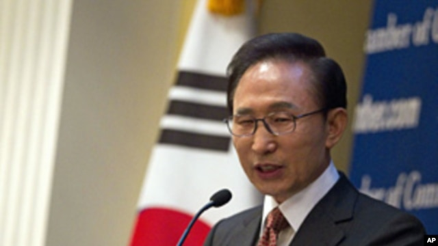 South Korean President Lee Myung-bak speaks during a lunch hosted in Washington by the U.S. Chamber of Commerce,  Oct. 12, 2011