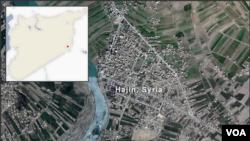 Peta kawasan Hajin, Suriah.