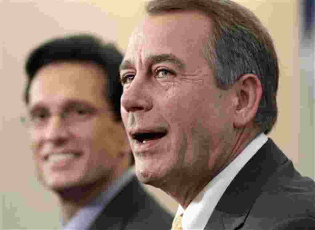 House Republican leader John Boehner of Ohio, right, joined by House GOP Whip Eric Cantor, R-Va., talks about the changes in balance of power in Congress that will elevate him to speaker of the House, 3 Nov. 2010.