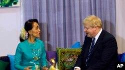 ႏုိင္ငံေတာ္ အတုိင္ပင္ခံပုဂၢဳိလ္ ေဒၚေအာင္ဆန္းစုၾကည္နဲ႔ ၿဗိတိန္ႏုိင္ငံျခားေရး၀န္ႀကီး Boris Johnson