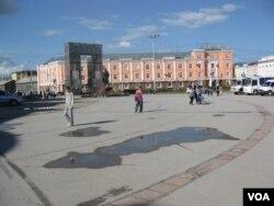 俄罗斯雅库特共和国首府雅库茨克市中心。(美国之音白桦 拍摄)