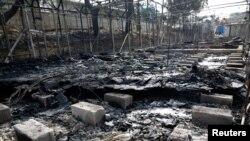 Les restes du camps de réfugiés incendié de Moria, sur l'île de Lesbos, Grèce, le 20 septembre 2016.