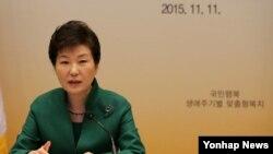 រូបឯកសារ៖ លោកស្រី Park Geun-hye ប្រធានាធិបតីកូរ៉េខាងត្បូង។ កូរ៉េខាងត្បូងបាននិយាយថា គ្មានផែនការភ្លាមៗឆ្លើយតបទៅនឹងការអំពាវនាវកាលពីពេលថ្មីៗនេះរបស់លោក Kim Jong Un ឱ្យមានការកែលម្អទំនាក់ទំនងទ្វេភាគីនោះទេ។