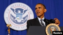 美國總統奧巴馬2月2日就國土安全部預算發表講話。