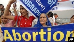 Women attend a rally against abortion in the southern Indian city of Hyderabad, October 2, 2008 (file photo)