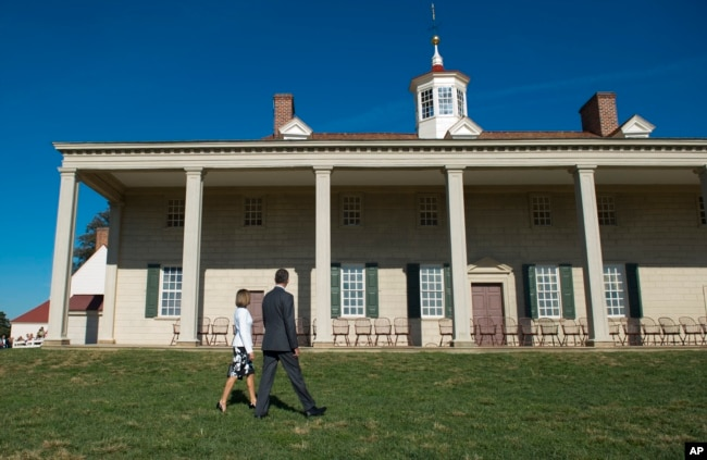 Spain's King Felipe VI and Queen Letizia visit George Washington's Mount Vernon, Va., home, Tuesday, Sept. 15, 2015, where they laid a wreath at the tomb of George and Martha Washington and toured George Washington's Mansion.