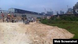8月28日中国福建省一个小女孩被推土机轧死的现场(照片来自QQ)