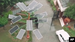 "A picture from above of one of the devices called a ""solar tree."""