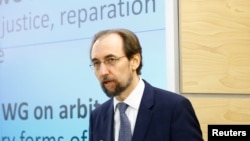 FILE - Zeid Ra'ad Al Hussein, U.N. High Commissioner for Human Rights arrives at the 36th Session of the Human Rights Council at the United Nations in Geneva, Switzerland September 11, 2017.