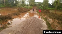 Barabara zilivyoharibika katika eneo la Nakuru kutokana na mafuriko ya Jumatano, Mei 9, 2018, Kaunti ya Nakuru, Kenya