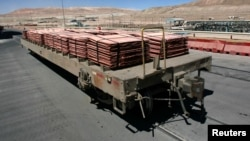 FILE - Sheets of copper cathode are pictured at BHP Billiton's Escondida, the world's biggest copper mine, in Antofagasta, northern Chile, March 31, 2008.