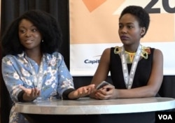 FILE - Afua Osei, left, and Dami Oyefeso host a gathering on funding tech startups at SXSW in Austin, Texas, March 13, 2018 (K. Choudhury/VOA)