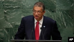 FILE - Benin Prime Minister Lionel Zinsou speaks to the U.N. General Assembly in New York, Sept. 30, 2015.