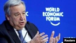 FILE - U.N. Secretary-General Antonio Guterres attends the World Economic Forum annual meeting in Davos, Switzerland, Jan. 24, 2019.