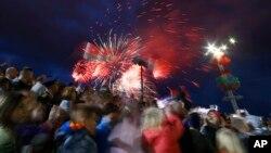 Салют в День независимости. Минск, Беларусь. 3 июля 2019